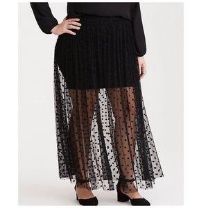 Torrid Plus Size Black Polka Dot Mesh Maxi Skirt